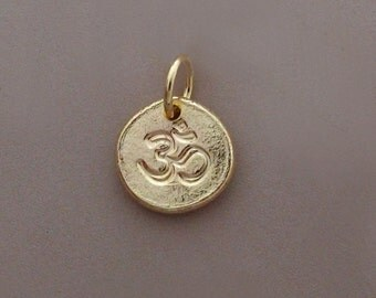 Ohm Pendant in 14k Gold - Tiny 14k Yellow Gold Om (Ohm) Charm- Pebble - Recycled Gold