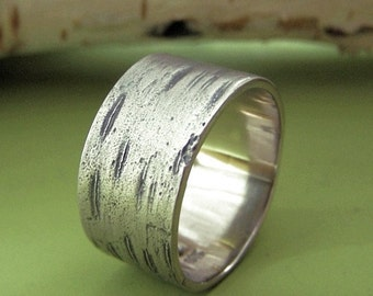Men's Wide Birch Tree Bark Wedding Ring in 14k Palladium White Gold