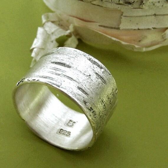 Birch Bark Ring in Sterling Silver