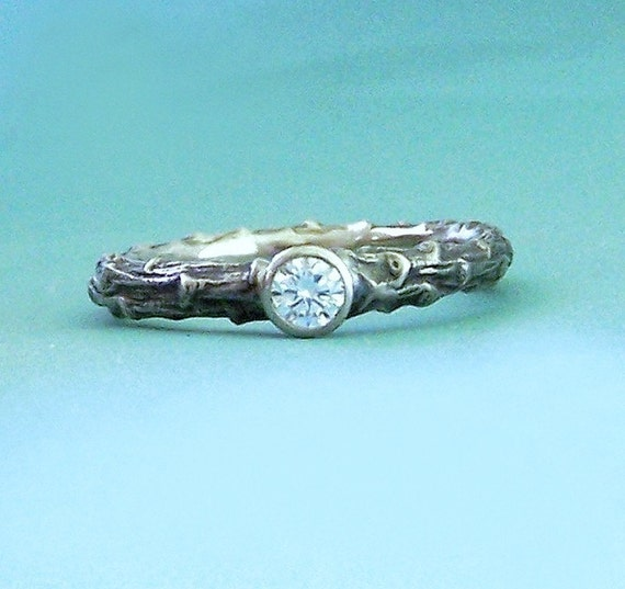 Twig Engagement Ring with Diamond in Recycled 14k Palladium White Gold - Pine Branch