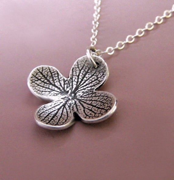 Sterling Silver Flower Necklace - Dark Hydrangea Blossom