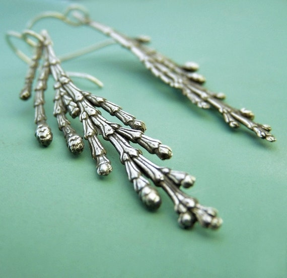 Cedar Branch Earrings in Sterling Silver - Long Dangle Earrings - Recycled Sterling Silver
