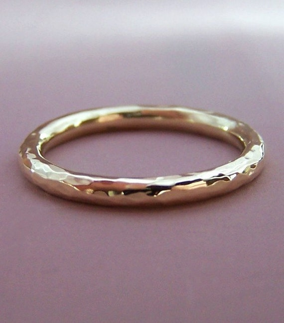 14k Recycled Gold Wedding Ring - 2 mm round