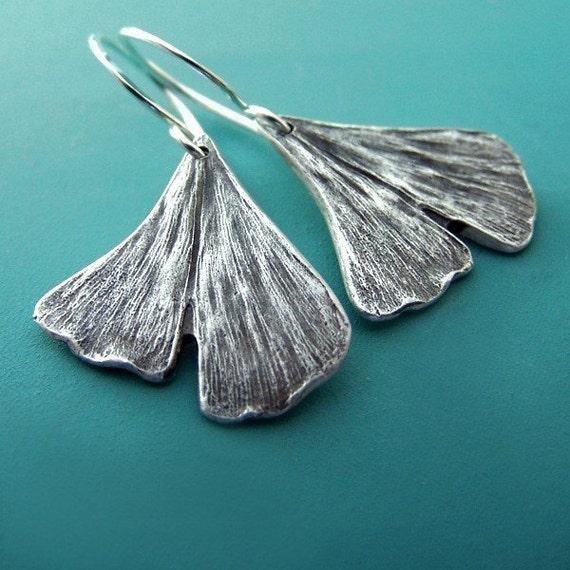 Ginkgo Leaf Earrings in Sterling Silver