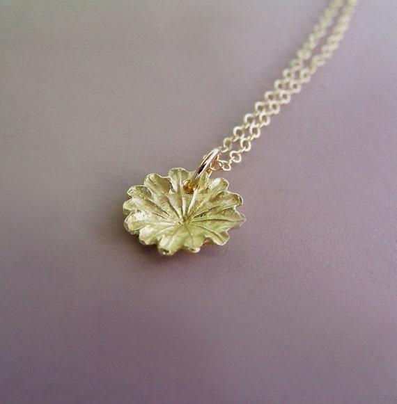 Poppy Flower Necklace in 14k Yellow Gold - Tiny Poppy Charm - Last Minute Gift