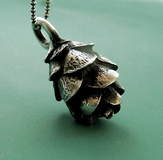 Pine Cone Necklace in Sterling Silver - Hemlock