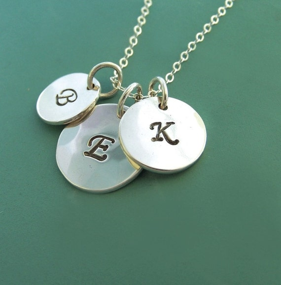 Letter Charm Necklace in Sterling Silver - Three Charms