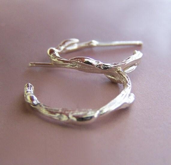 Sterling Silver Twig Hoop Earrings - Willow - Small