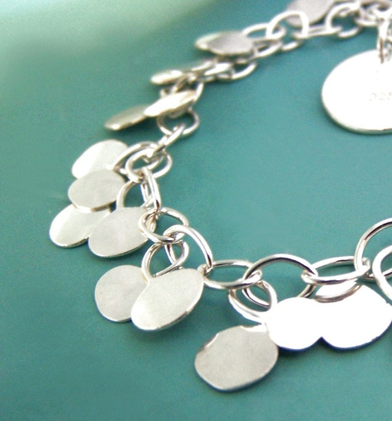 Sterling Silver Chain Bracelet - Hammered Dots