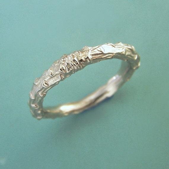 14k Palladium White Gold Hammered and Pine Branch Wedding Rings - Custom Order