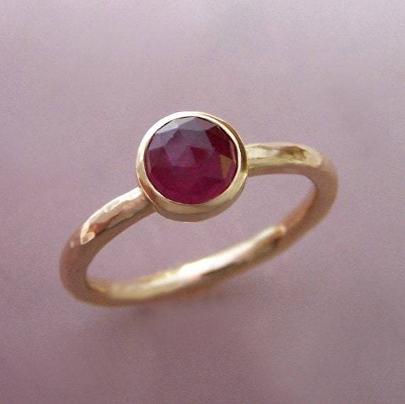 14k Gold Rose Cut Ruby Engagement Ring