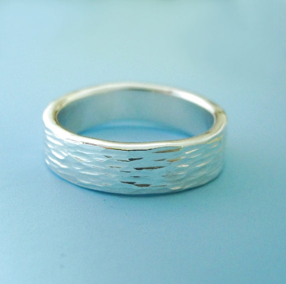 Recycled Sterling Silver Wedding Band Ripple 5 Mm Wide