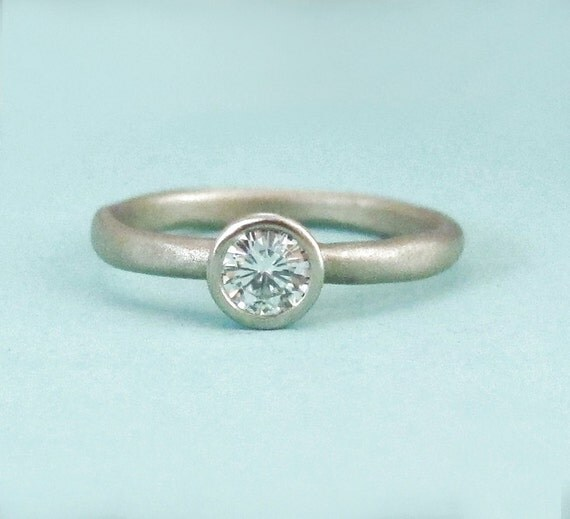 Moissanite Engagement Ring - 14k Palladium White Gold - River - Recycled Gold - Size 7.25 - READY TO SHIP