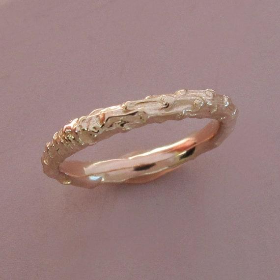 14k Rose Gold Twig Wedding Ring - Narrow Pine Branch