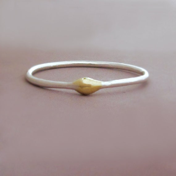 Rain Stacking Ring in Sterling Silver and 22k Gold - Water Droplet Ring