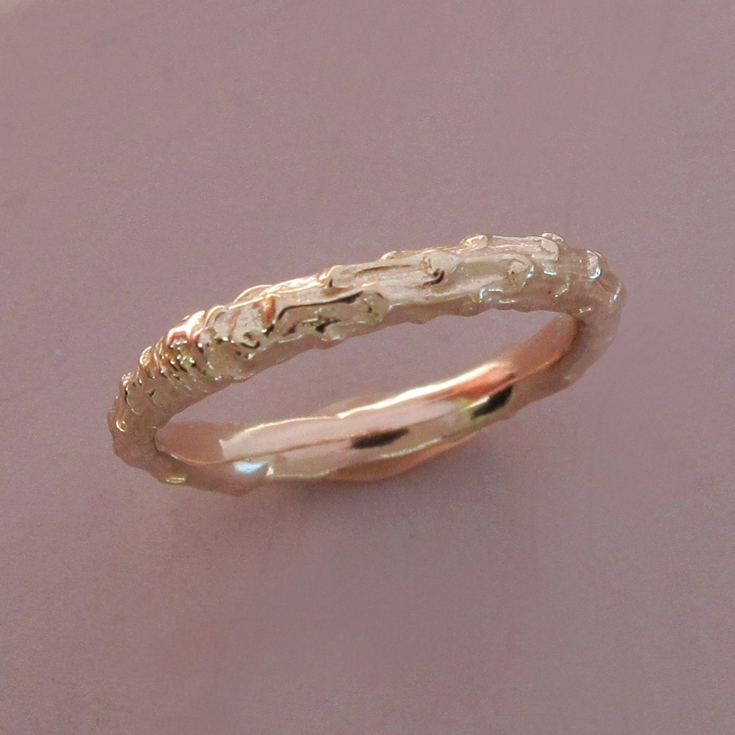 14k Rose Gold Twig Wedding Ring Narrow Pine Branch