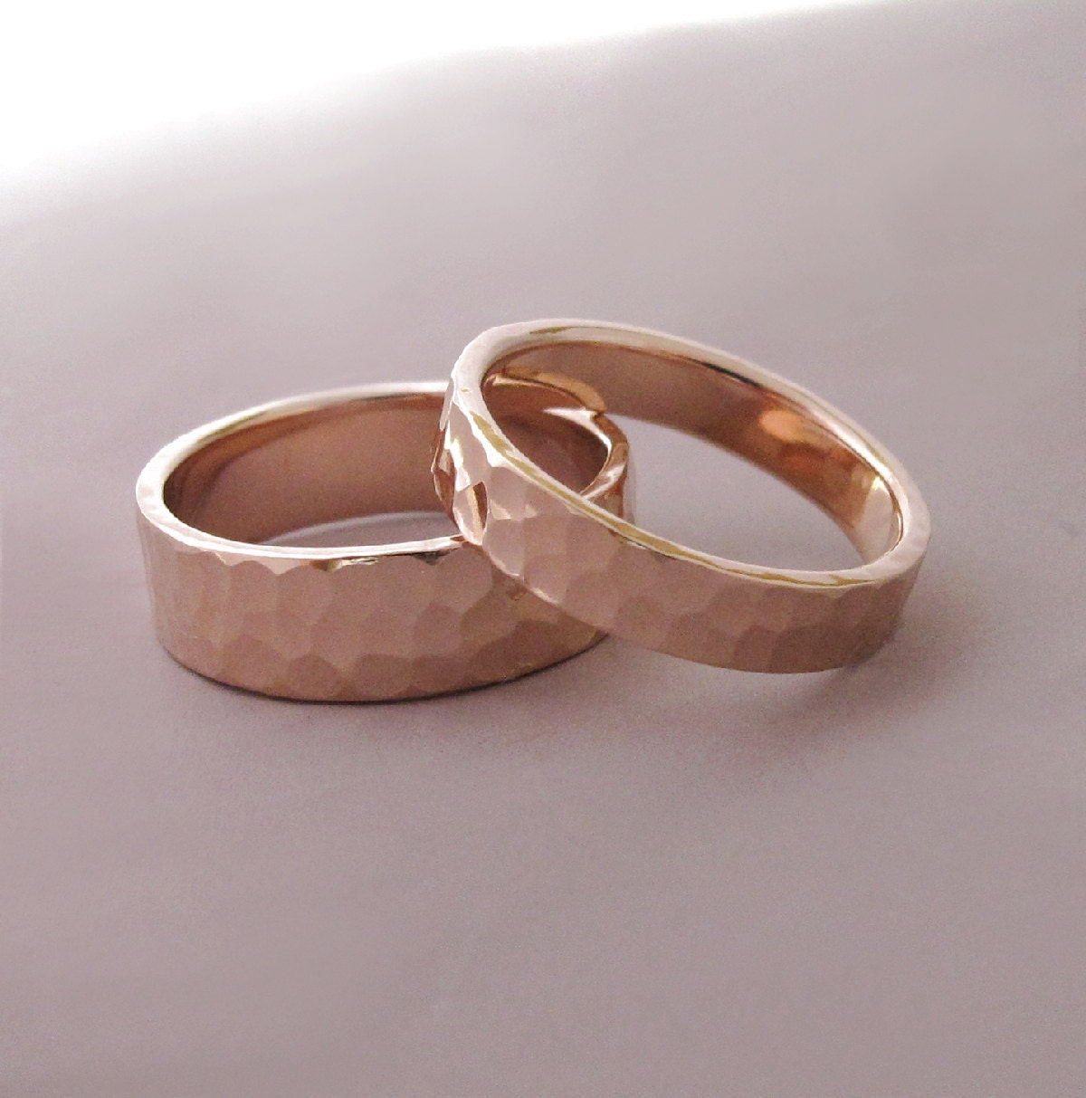 14k Rose Gold Wedding Rings Hammered Recycled Gold 4 And 6