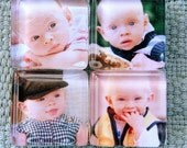 Custom or Personalized Photo  Magnet Set from Glass Tiles