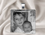 Personalized Pendant Neckace - Custom Photo Glass Tile Pendant