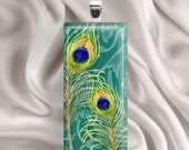 Painted Peacock Feathers - Glass Tile Pendant