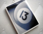 SALE - Lucky Number 13  - Polymer Clay Pendant