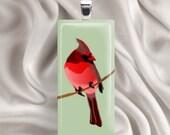 Painted Cardinal - Glass Tile Pendant