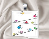 Birds on a Wire - Glass Tile Pendant Necklace