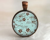 Delicate Floral - Glass Pendant in a Copper Bezel Setting - 25mm or 1 Inch round