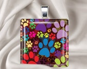 Rainbow Paw Prints - Square Glass Tile