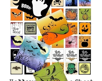 Funky Halloween - Instant Download - Digital Collage Sheet - 1 Inch Squares