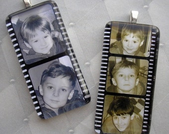 Personalized Custom Photo Pendant - Film Stars - Glass Rectangle Pendant - Your Photos