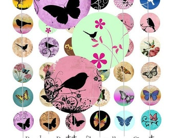 Digital Collage Sheet - Birds and Butterflies - 1 Inch Circles - Instant Download