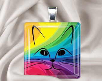 Rainbow Cat - Glass Tile Pendant Necklace