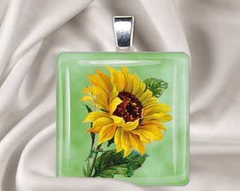 Painted Sunflower - Glass Tile Pendant Necklace