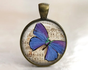 Musical Butterfly  - Pendant Necklace or Key Chain - Choice of 4 Colors - 1 Inch Round