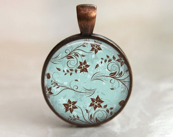 Delicate Floral Pendant, Necklace or Key Chain - Choice of 4 Colors - Bronze, Copper, Silver or Black