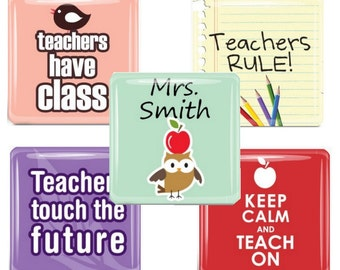 Custom Teacher  Glass Tile Magnet Set - Teacher Gift - Personalized
