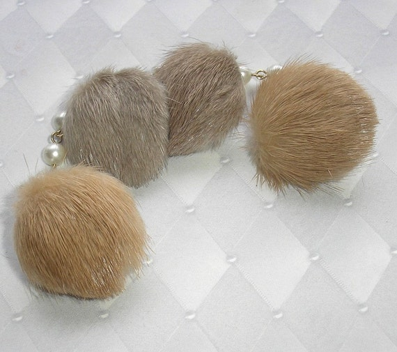 Vintage Fur Earrings and Sweater Clip