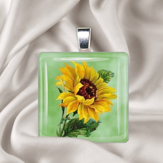 Painted Sunflower - Glass Tile Pendant Necklace