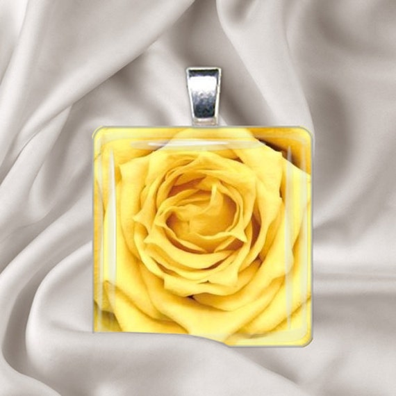 Yellow Rose  Glass Tile Pendant Necklace