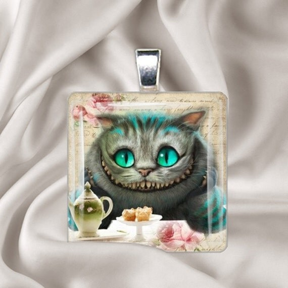 Cheshire's Grin Pendant - Square Glass Tile
