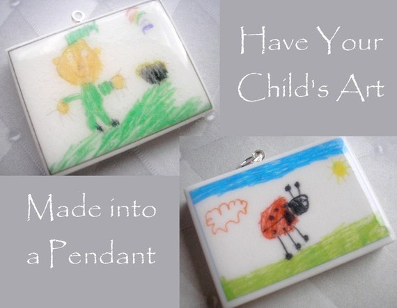 Your Childs Art on Clay - Polymer Clay Pendant