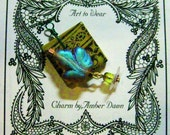 Leafy and floral focal art charm, to wear -by, Amber Dawn