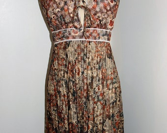 Lacey Accordian Pleat Browns Vintage Dress