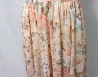 Vintage Tea Rose High Waisted Skirt 80s