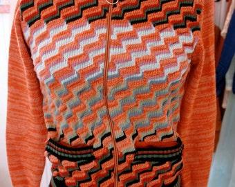 Vintage 70's Zip Front Cardigan Sweater