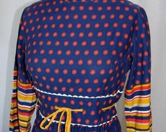 Vintage 60s Calico Print and Stripe Maxi Dress