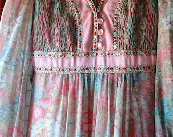 CANDI JONES of California Vintage Smocked Hippie Maxi Dress