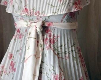 Vintage Multi-Pleated Off Shoulder Dress