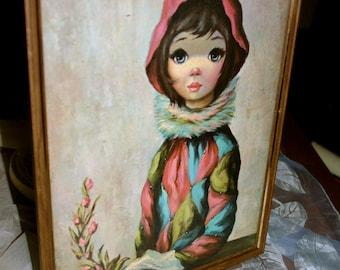 Vintage Big Eye Girl Art Framed Portrait 60s